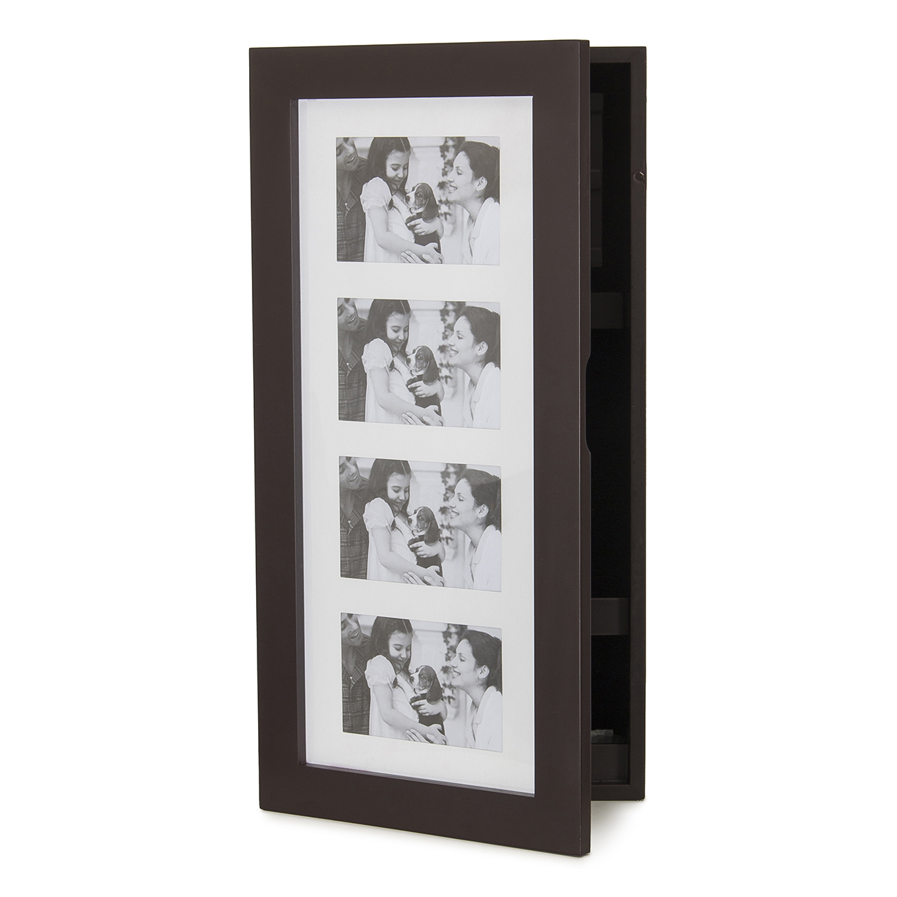 Elegant wall mount 4 photo frame holder jewelry cabinet for Photo clip wall frame