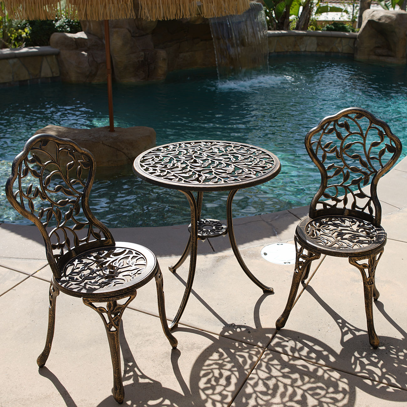 3pc bistro set in antique outdoor patio furniture leaf for Metal patio furniture sets