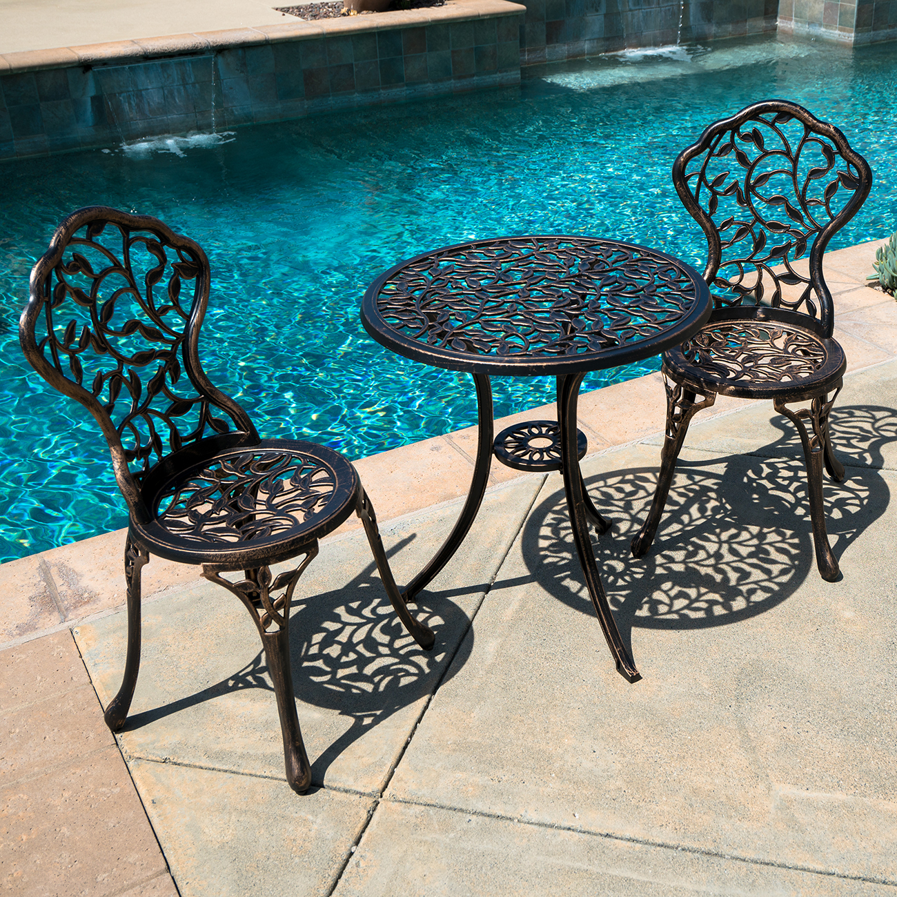 Outdoor Patio Furniture Tulip Design Cast Aluminum Bistro Set In Antique  Bronze