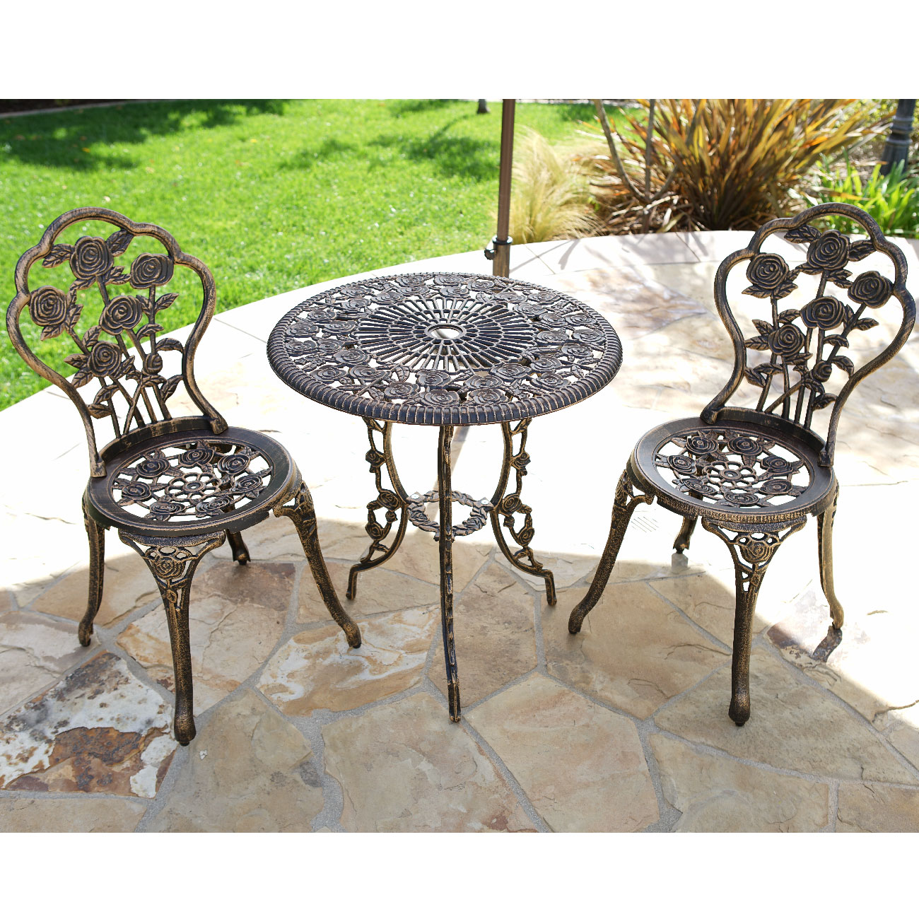3pcs Outdoor Patio Furniture Cast Aluminum Bistro Set Table Antique Bronze White