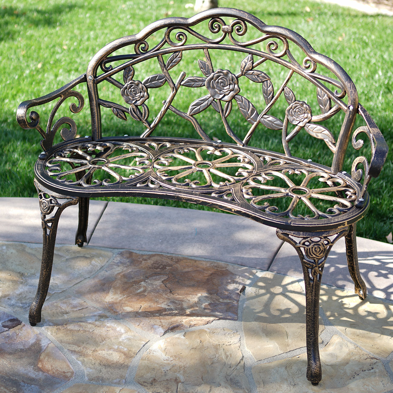 New 39 antique design style patio porch garden bench cast aluminum outdoor home ebay Aluminum benches
