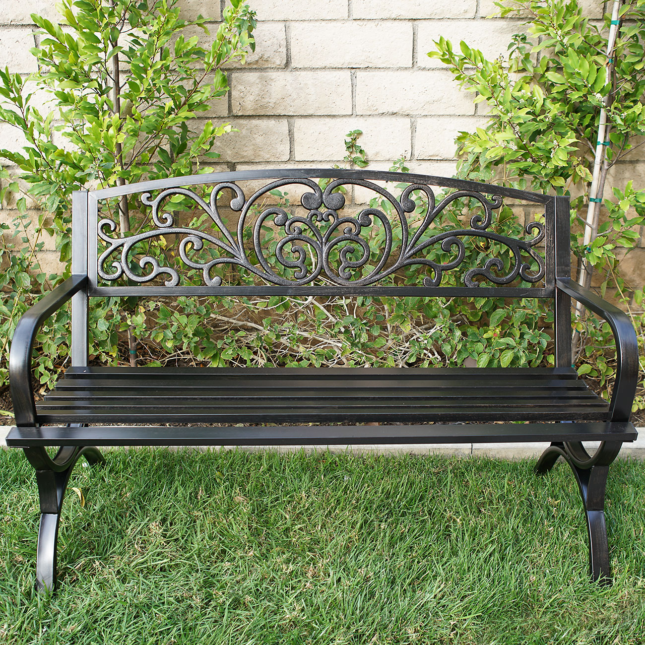 New 50 Inch Outdoor Bench Patio Metal Garden Furniture Deck Porch Seat Backyard Ebay