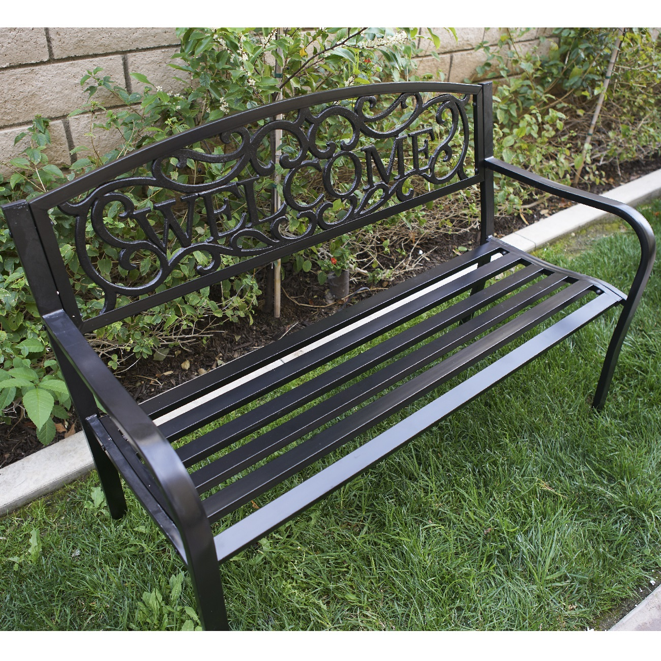 50 Inch Outdoor Patio Bench Furniture Seat Porch Deck Garden Yard Welcome Design Ebay