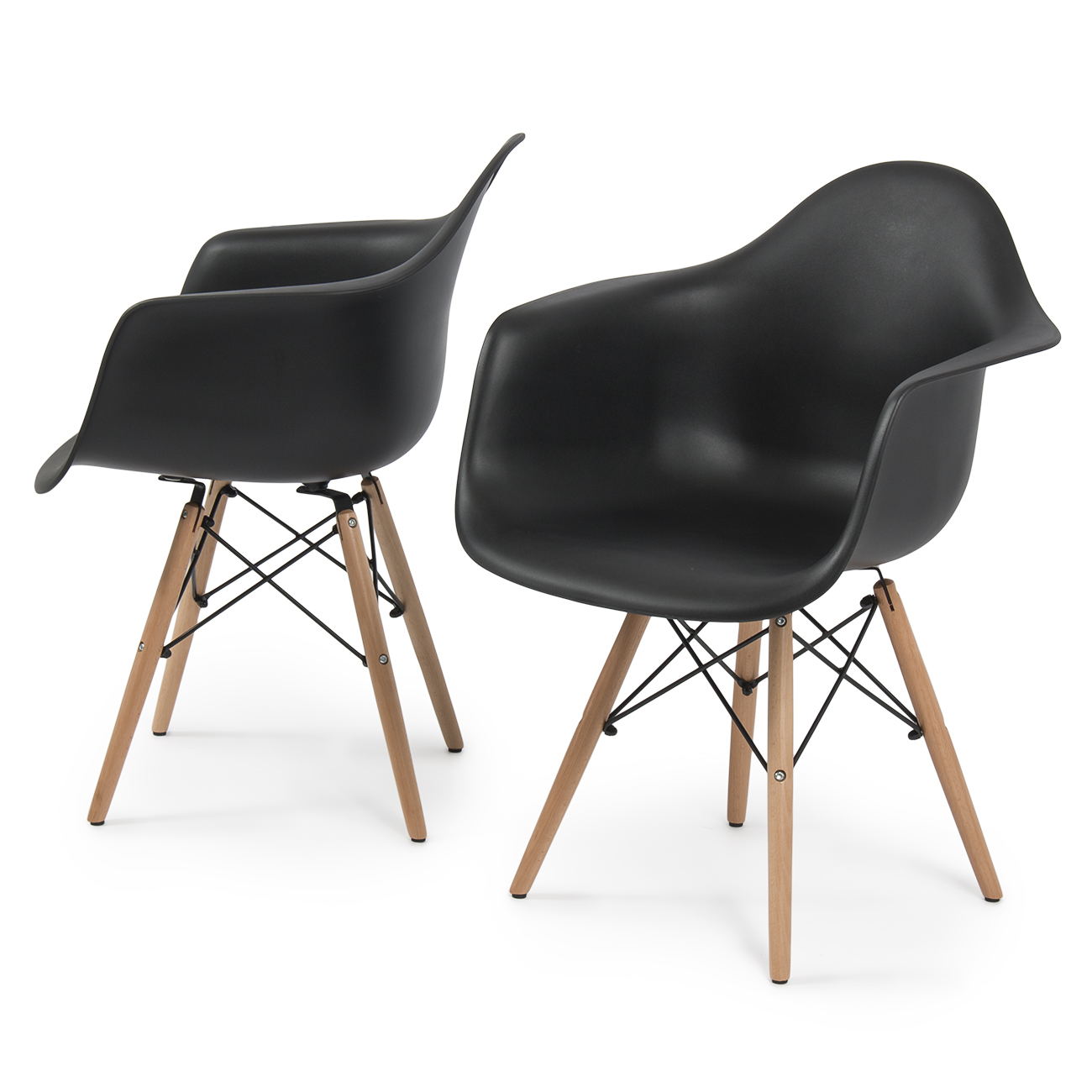 NEW Set of 2 Eames DSW Mid Century Dining Arm Chair  : 014 hg 30202 bk1 from www.ebay.com size 1300 x 1300 jpeg 440kB