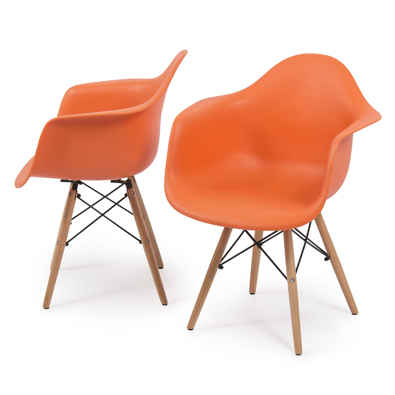 New set of 2 eames dsw mid century dining arm chair for Eames wooden chair
