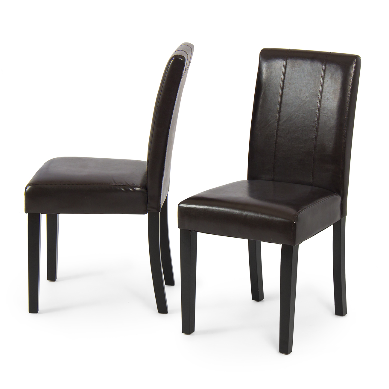 Set of 2 elegant modern design leather parsons dining for Leather parsons dining chair