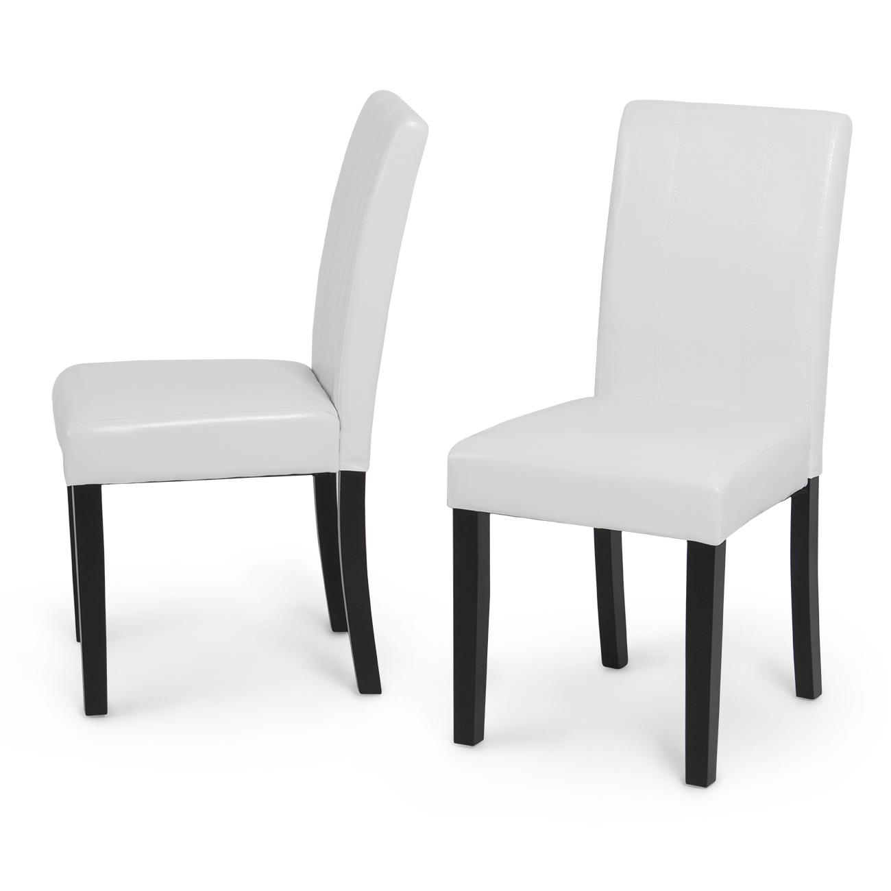 Set Of 2 Elegant Modern Design Leather Parsons Dining