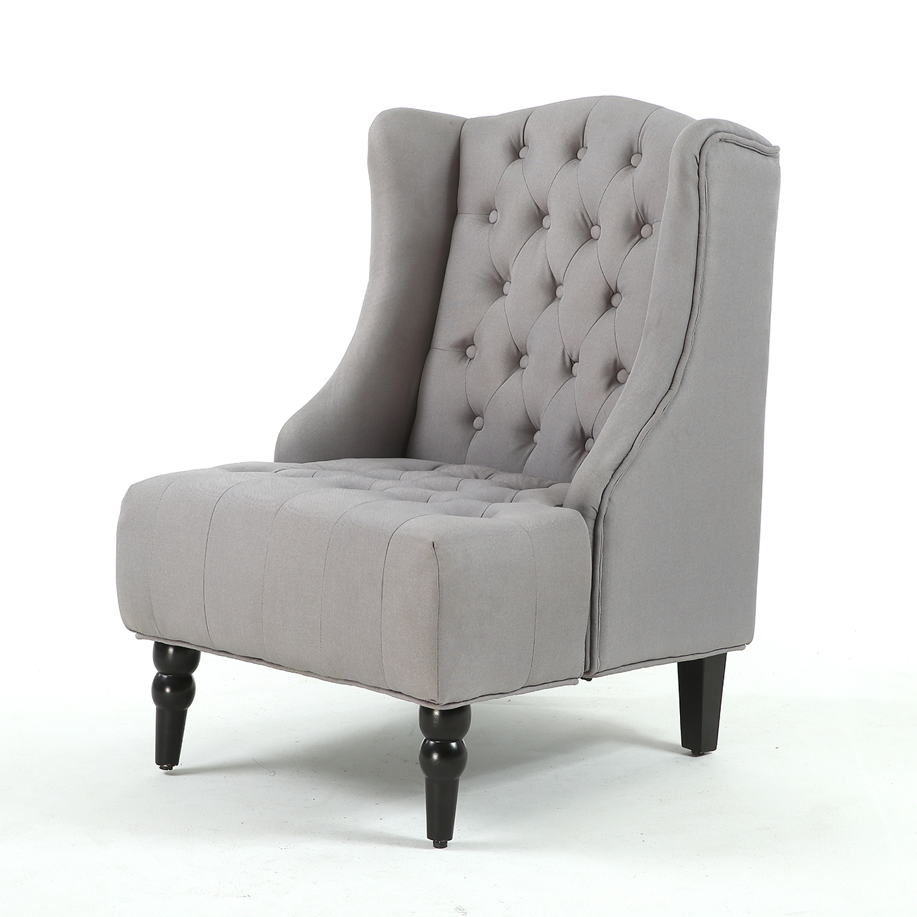 New Modern Wingback Accent Chair Diamond Tufted Linen