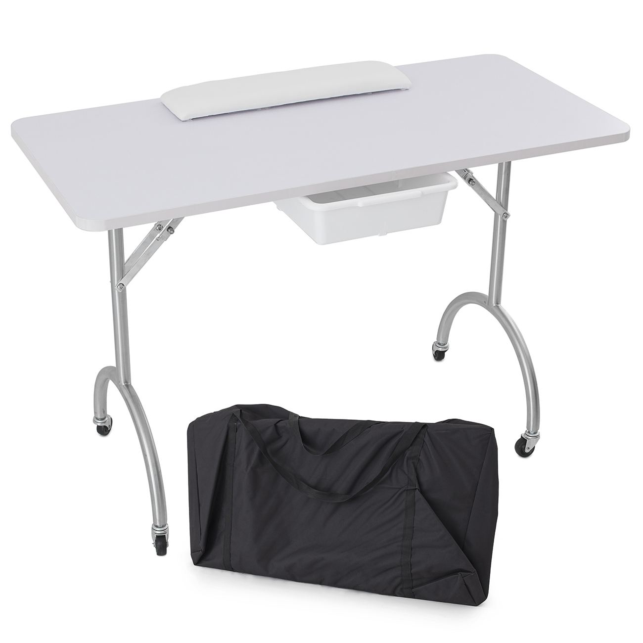 White portable manicure nail table station desk spa beauty for Beauty salon manicure tables