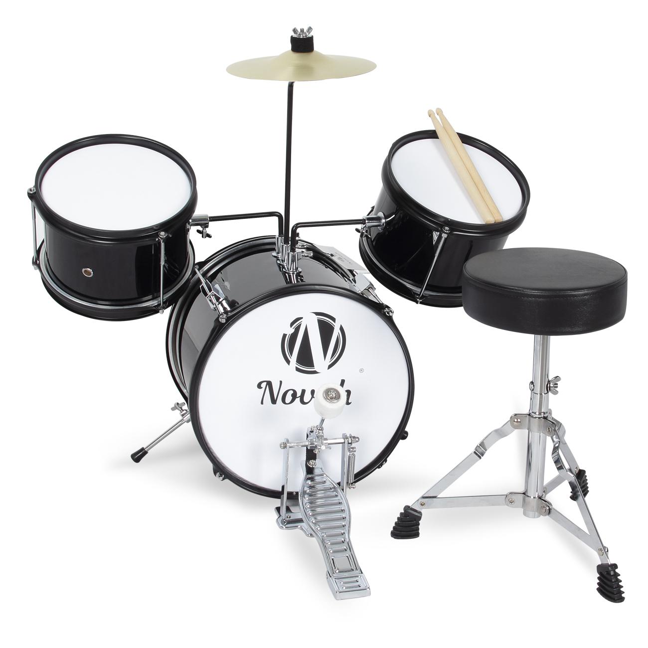Junior Drum Set 3 Piece Complete Child Kids Kit Stool