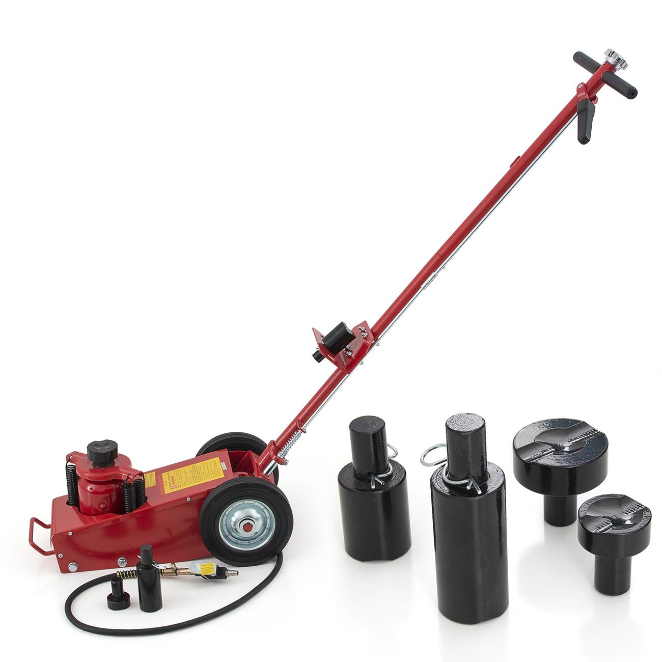 Hydraulic Air Floor Axle Bottle Jack W Wheels 22 Ton Lift