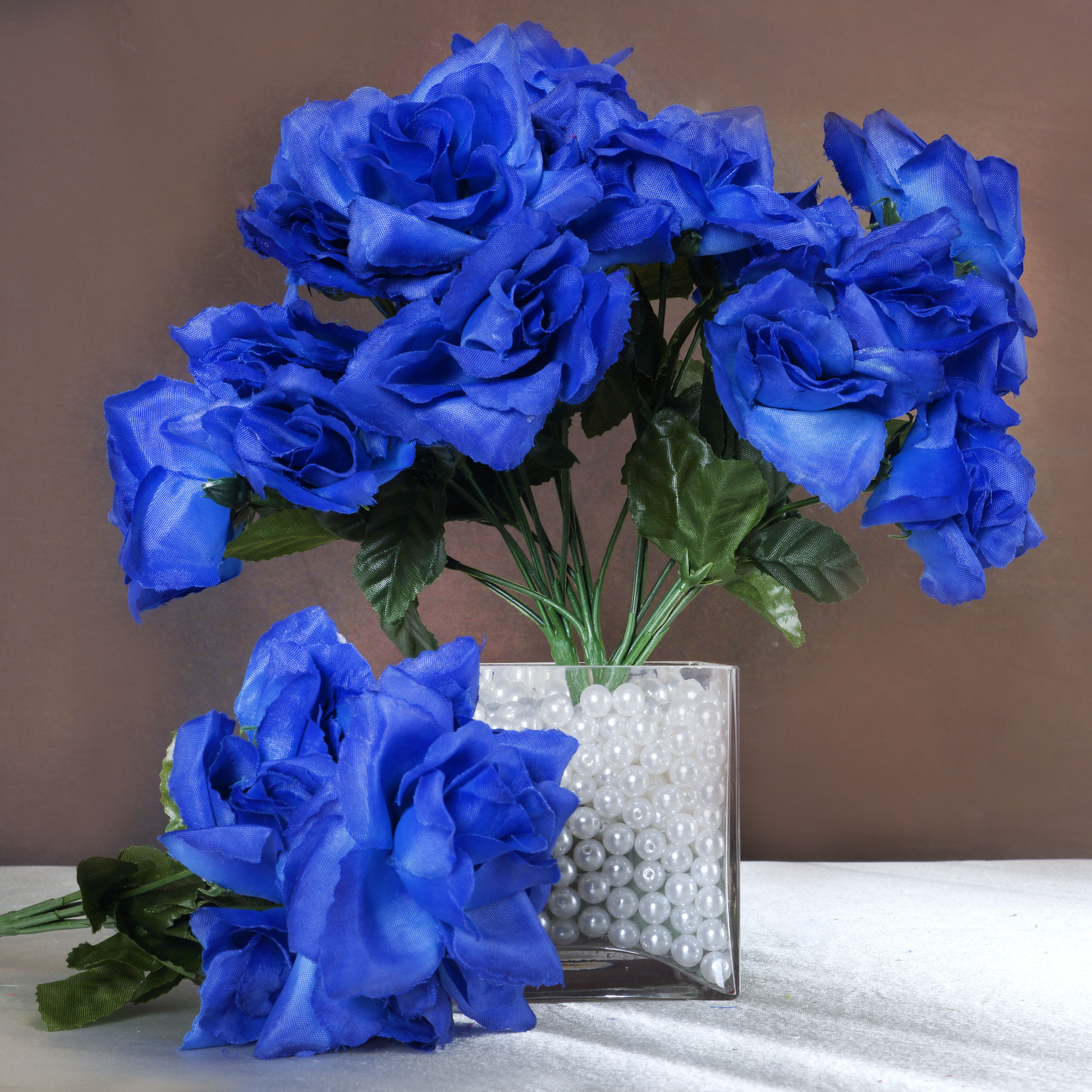 Silk open roses wedding bouquets flowers centerpieces