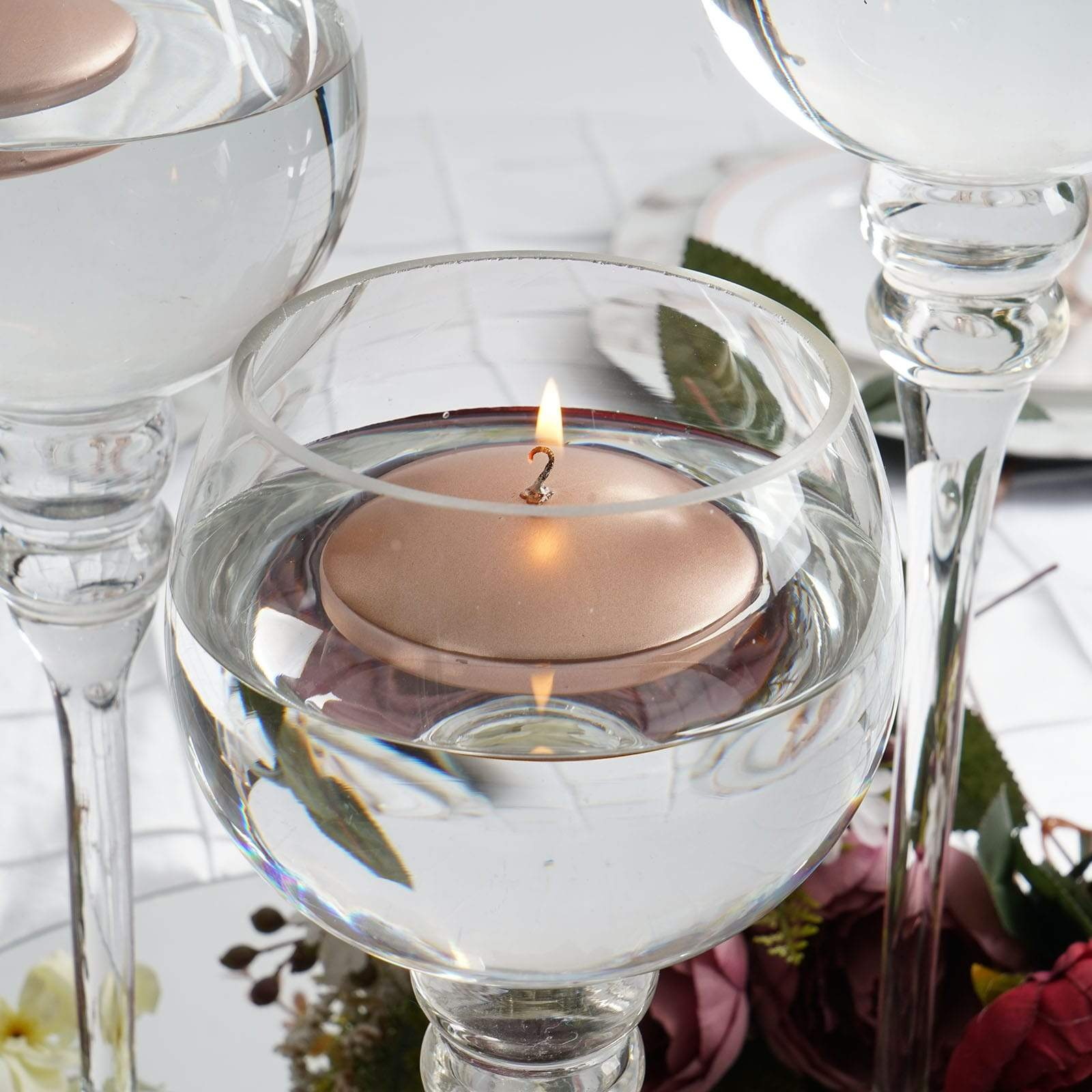 3-Inch wide Wedding Unscented Discs Round Floating Candles Centerpieces Sale