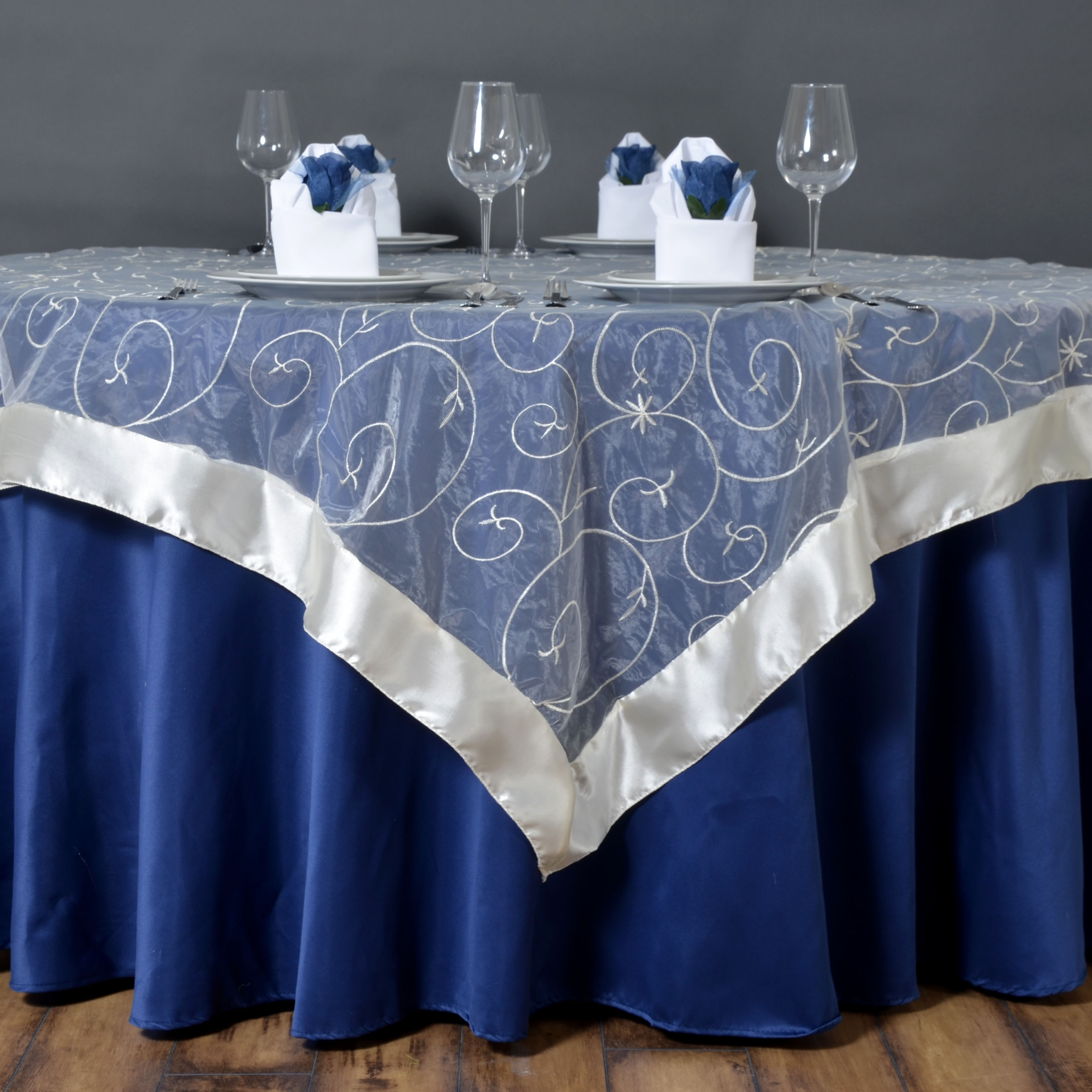 60 Quot Embroidered Organza Table Overlays Wedding Catering