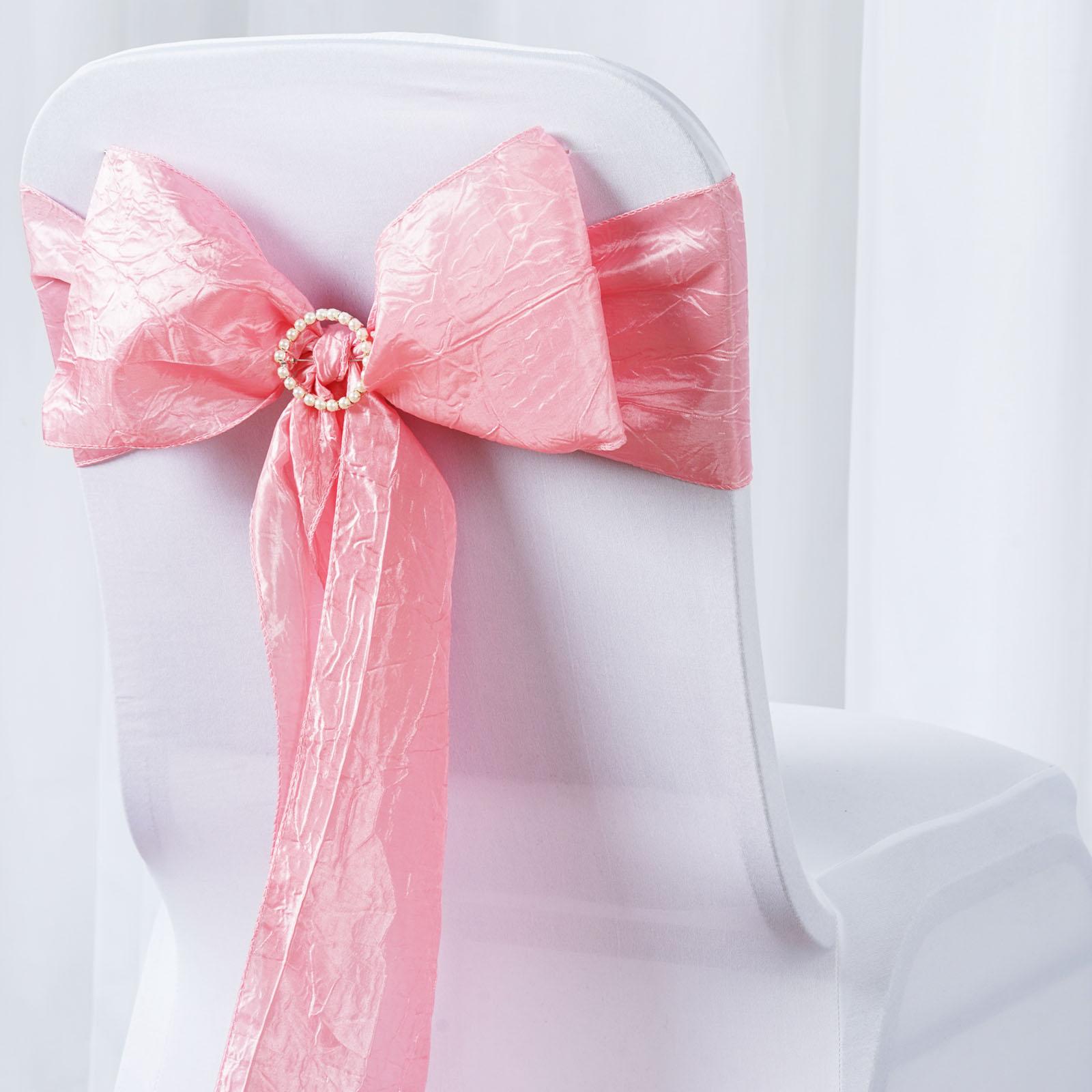 Taffeta Crinkle CHAIR SASHES Bows Ties Wedding Reception Decorations Wholesale