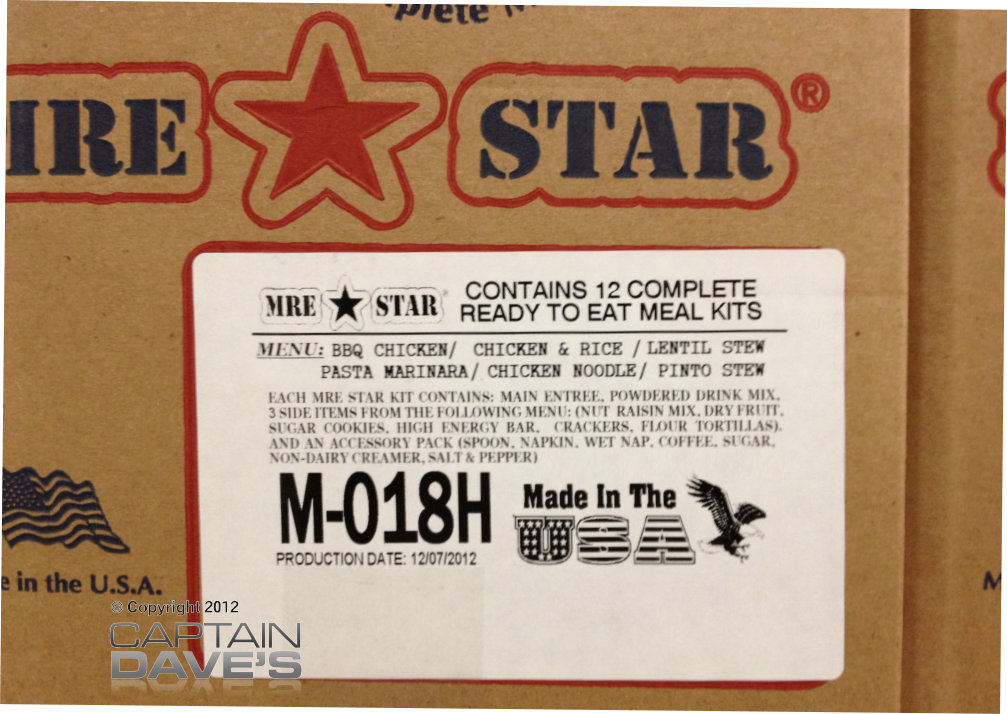 case of 12 mre star mres military style meals ready to. Black Bedroom Furniture Sets. Home Design Ideas