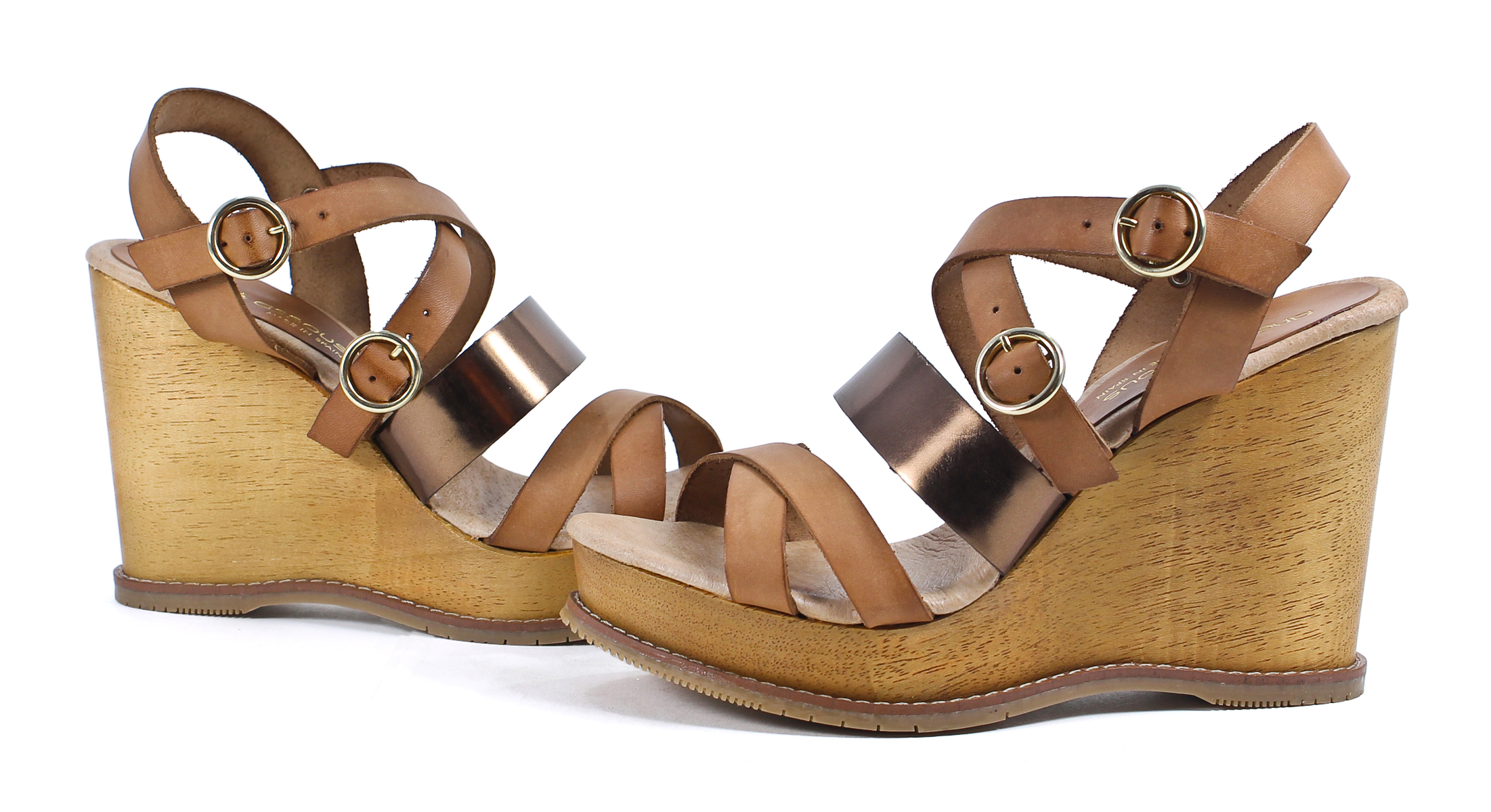 andre assous bronze brown buckle wedge sandal