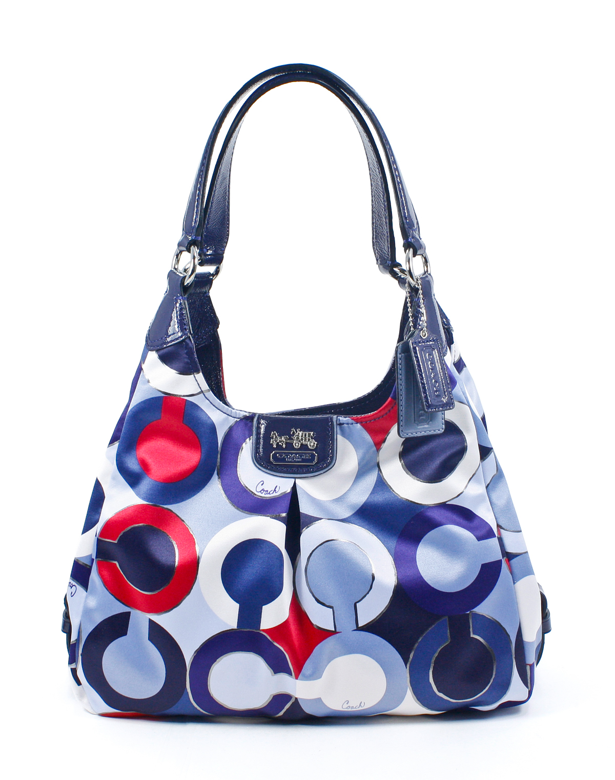 Coach Madison Graphic Op Art Metallic Blue Multi Maggie Shoulder Bag ...