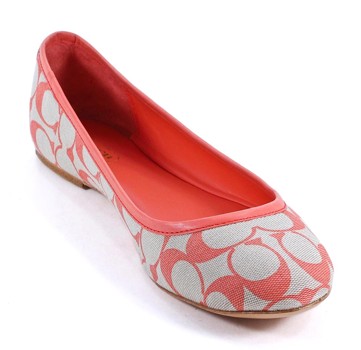 coach signature sun orange august flat slip on shoes 9 new