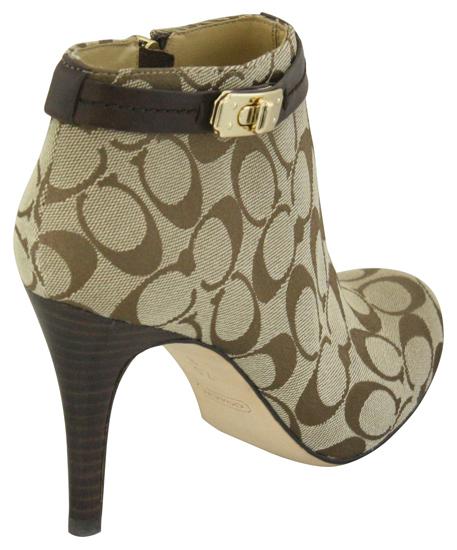 coach khaki logo high heel ankle bootie shoes 7 5