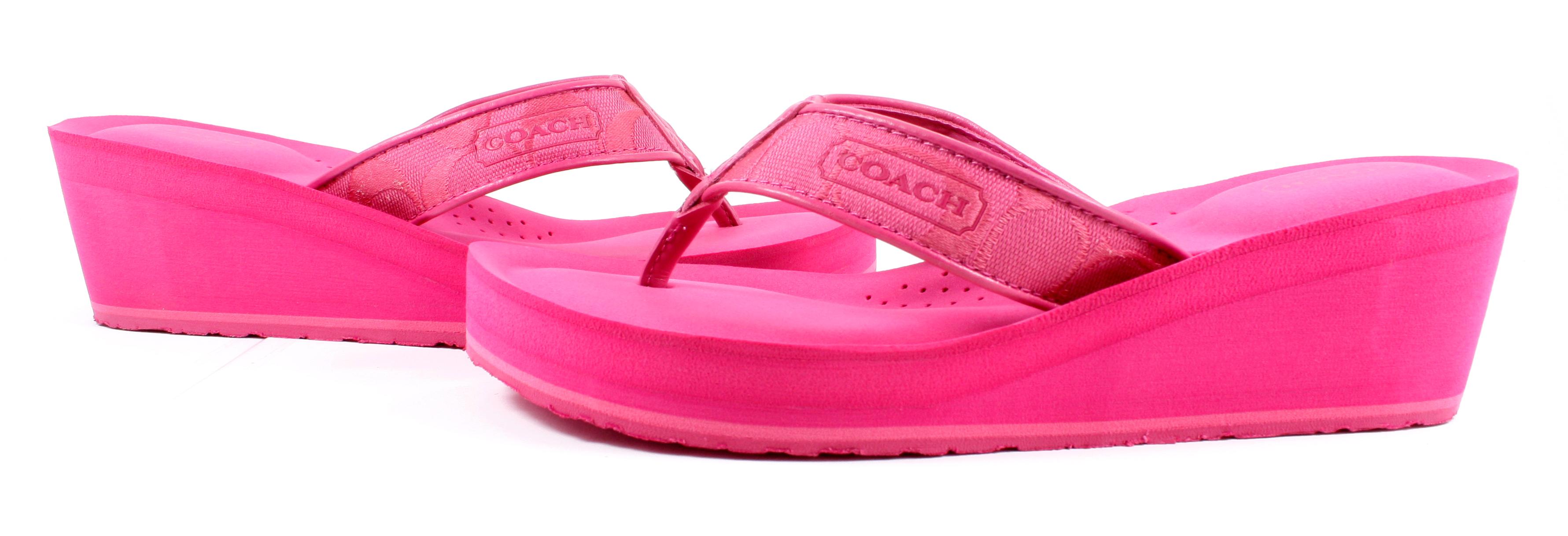 Coach Signature Jaicee Wedge Sandals Flip Flops Shoes