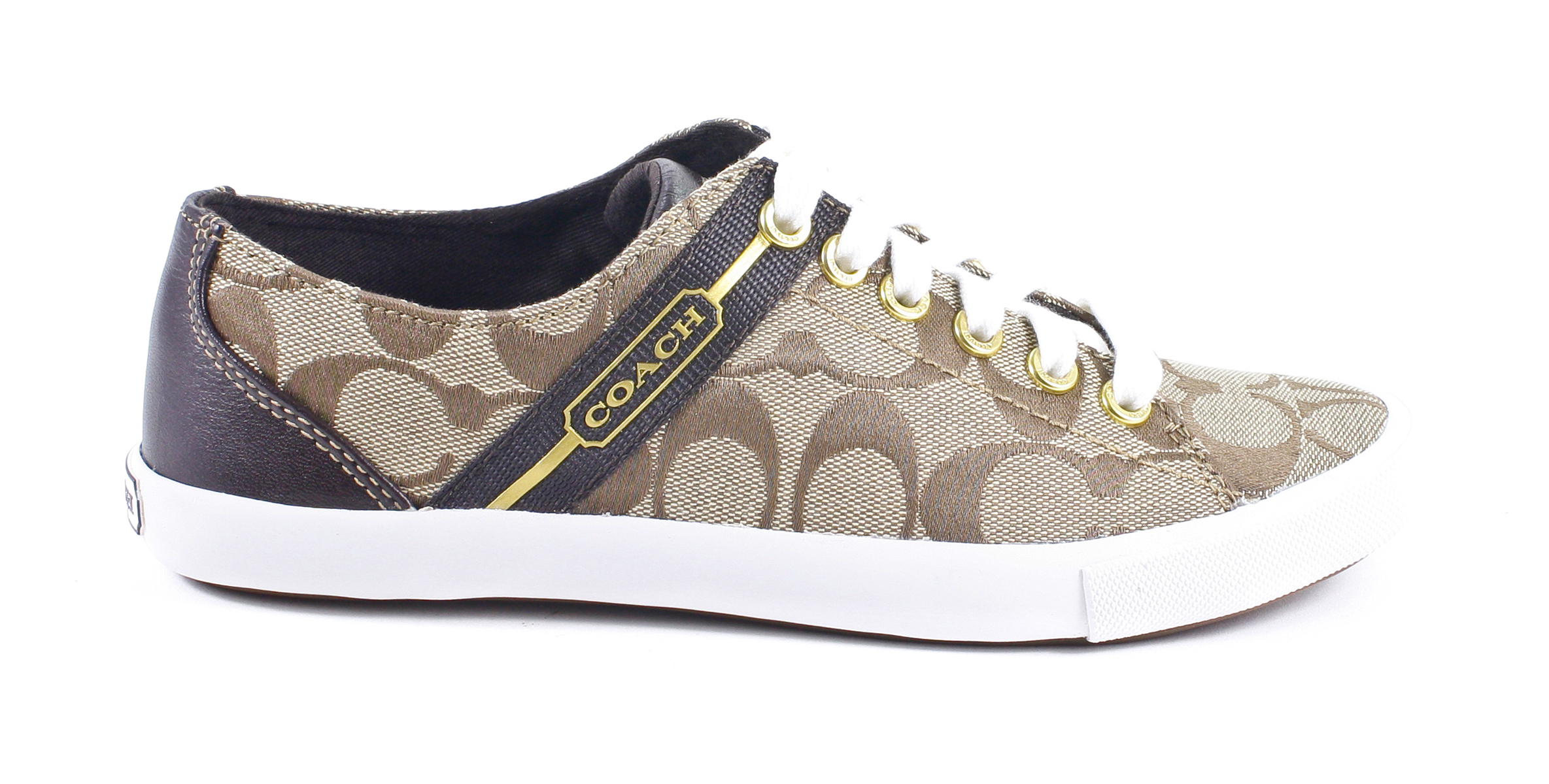 coach lesley signature webbing tennis shoes khaki chestnut