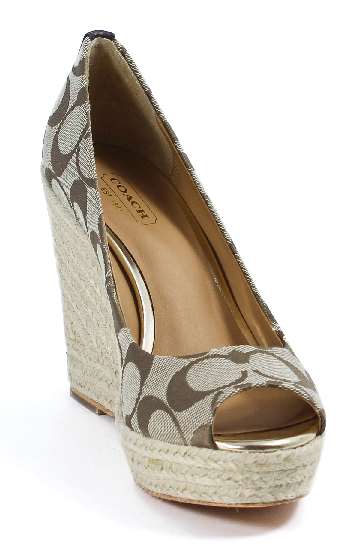 coach signature womens khaki milan platform wedge sandal