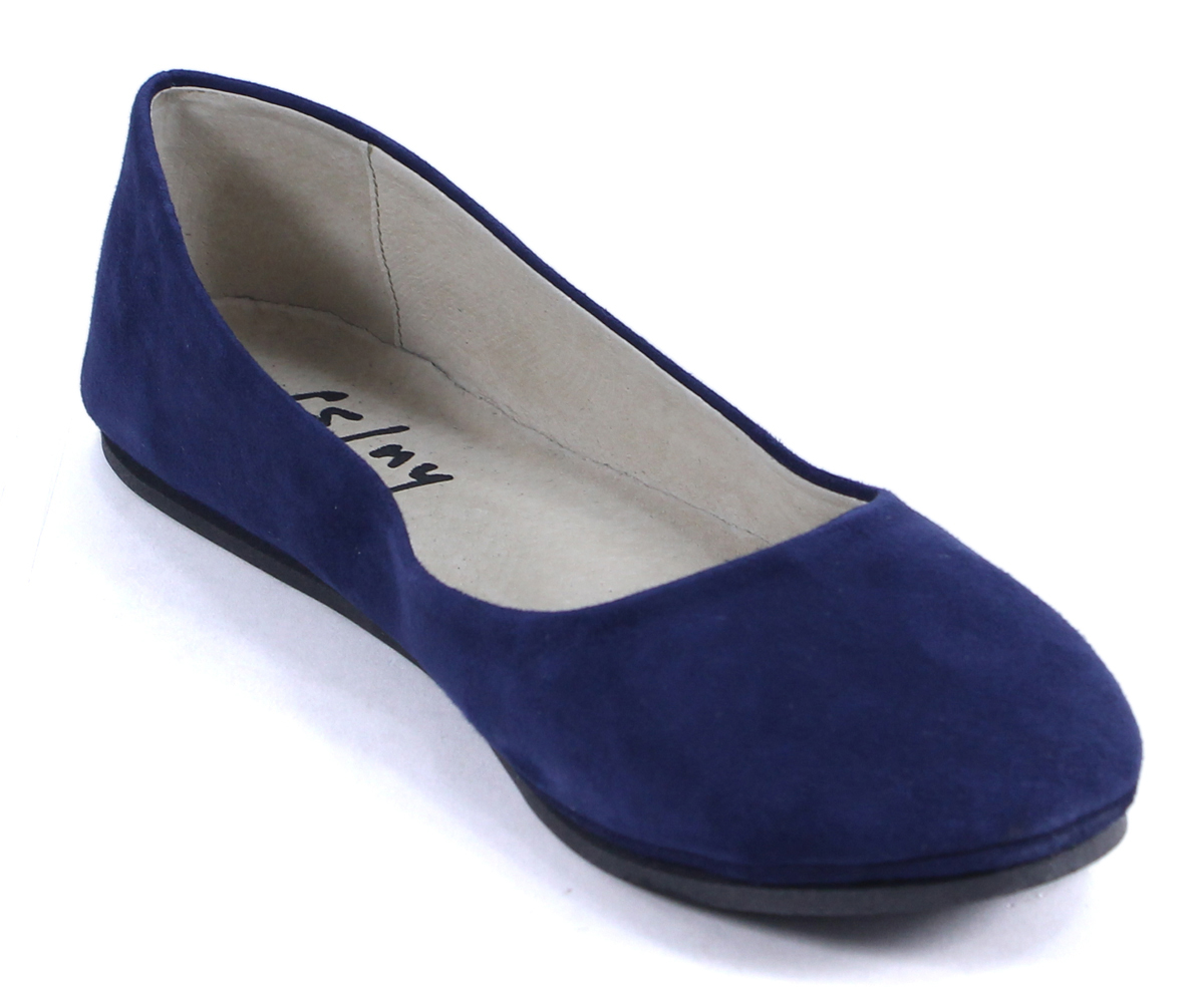 French sole ny sloop navy blue suede leather ballet flats shoes 7 5