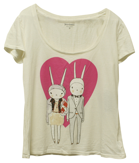 Juicy Couture Fifi Lapin Scoop Neck Angel White Tee Shirt