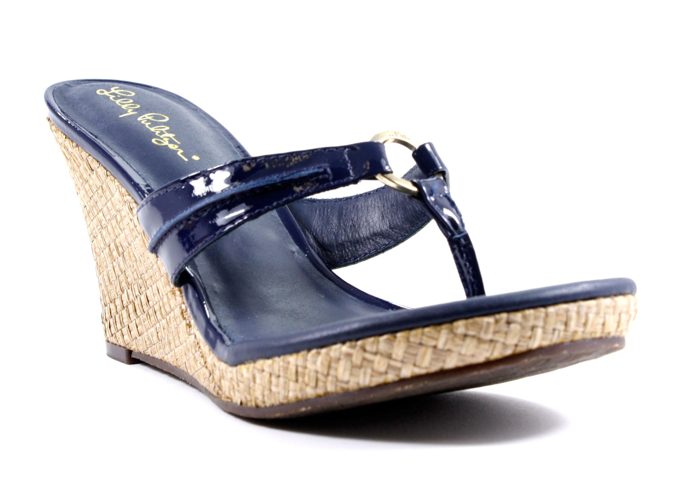 Lilly Pulitzer Mckim High Wedge True Navy Sandals Shoes 8