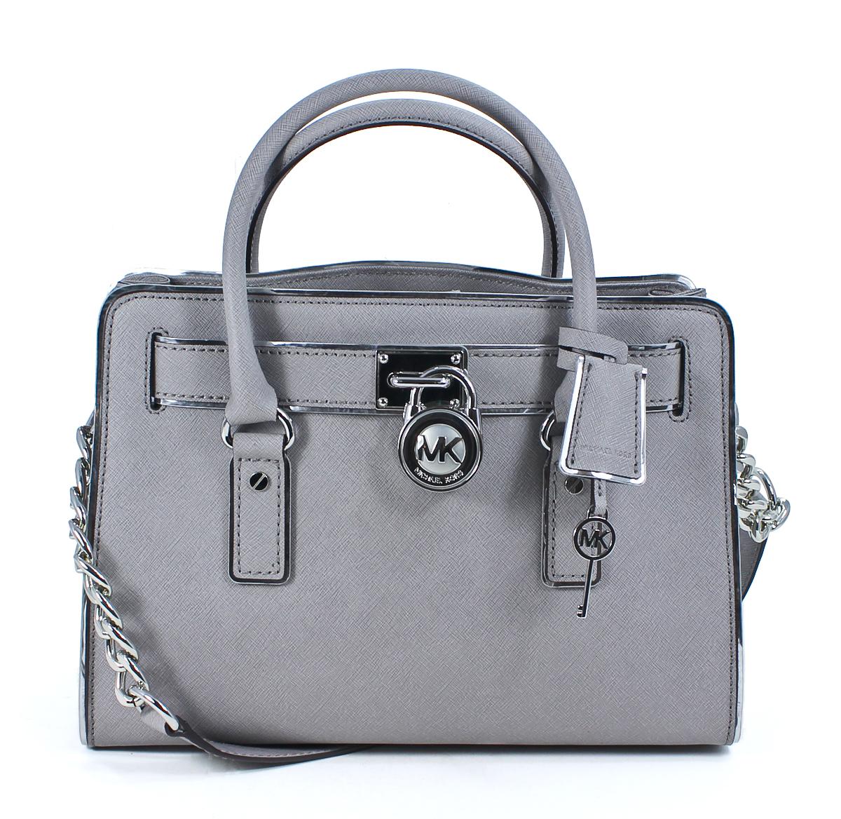 Michael-Kors-Hamilton-Specchio-East-West-Satchel-Pearl-Grey-Leather-Handbag-New