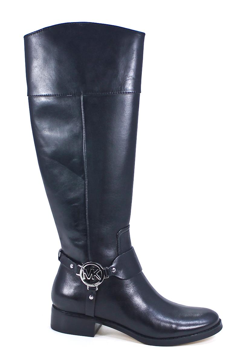 michael kors fulton harness boot black leather knee high