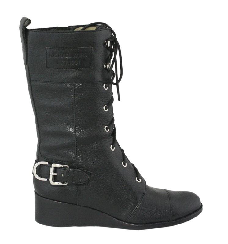 michael kors woodley combat wedge boots black lace up 7