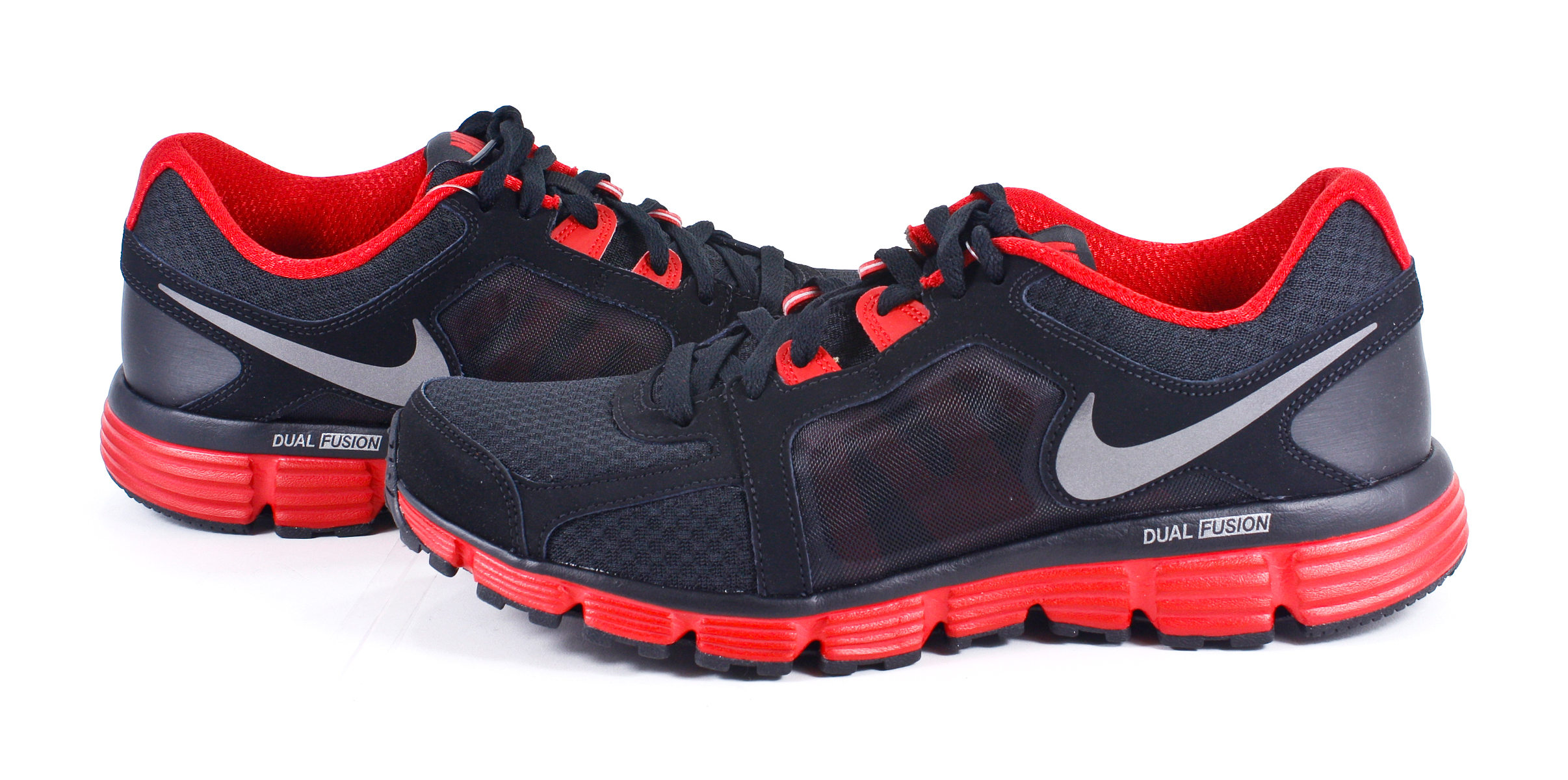 nike dual fusion st 2 s black gray running shoes