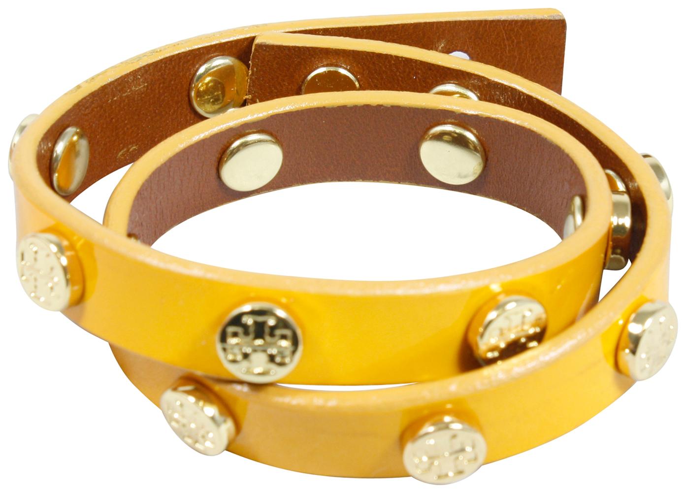 Tory Burch Studded Leather Wrap Bracelet Gold Logo Lemon Jewelry New