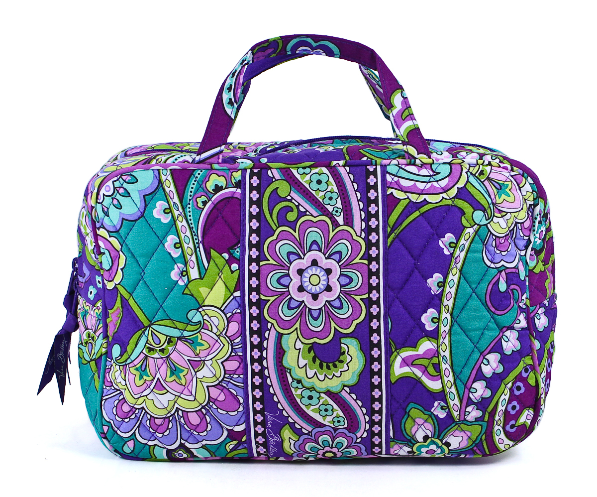 vera bradley grand cosmetic carrier plastic lined