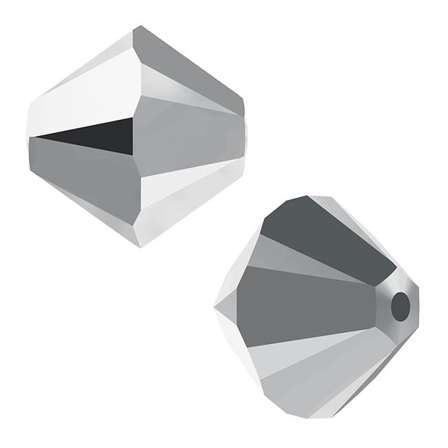 Swarovski Crystal, #5328 Bicone Beads 4mm, 24 Pieces, Crystal Light Chrome 2X