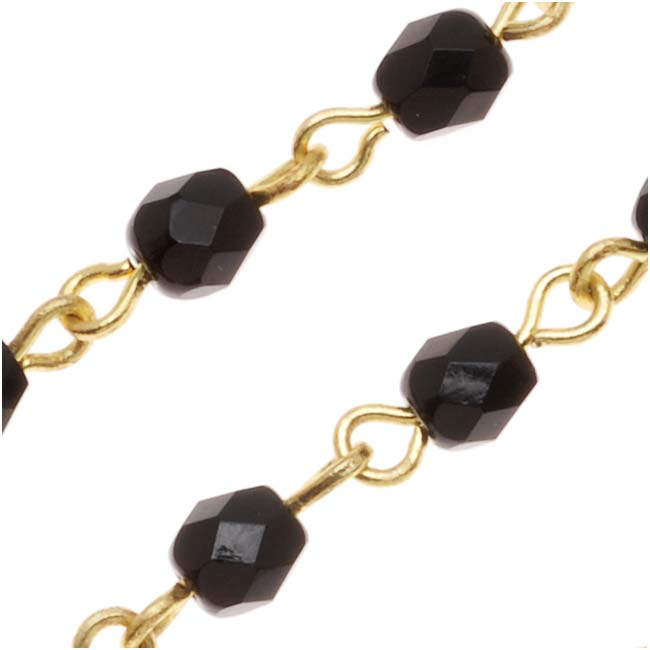 Czech Glass Beaded Chain, Jet Black Fire Polish 4mm, Gold Plated, by the Inch