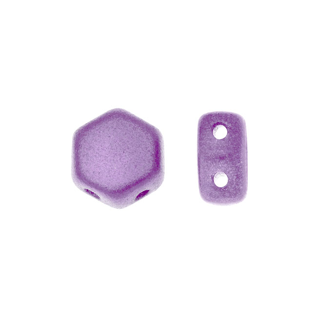 Czech Glass Honeycomb Beads, 2-Hole Hexagon 6mm, 30 Pieces, Pastel Lilac