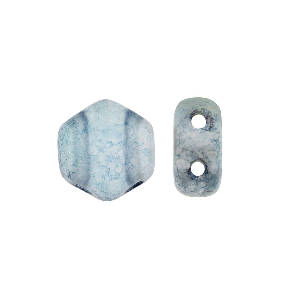 Czech Glass Honeycomb Beads, 2-Hole Hexagon 6mm, 30 Pieces, Matte Blue Luster