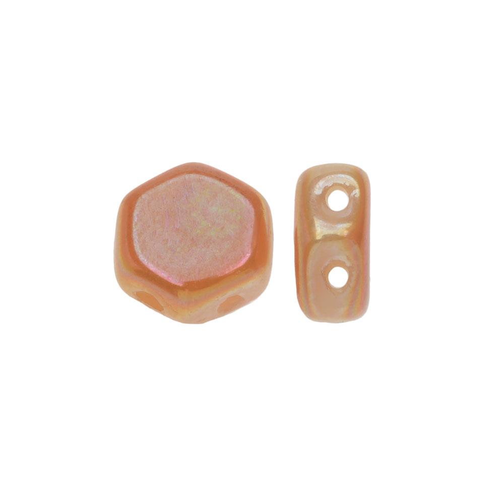 Czech Glass Honeycomb Beads, 2-Hole Hexagon 6mm, 30 Pieces, Chalk Apricot