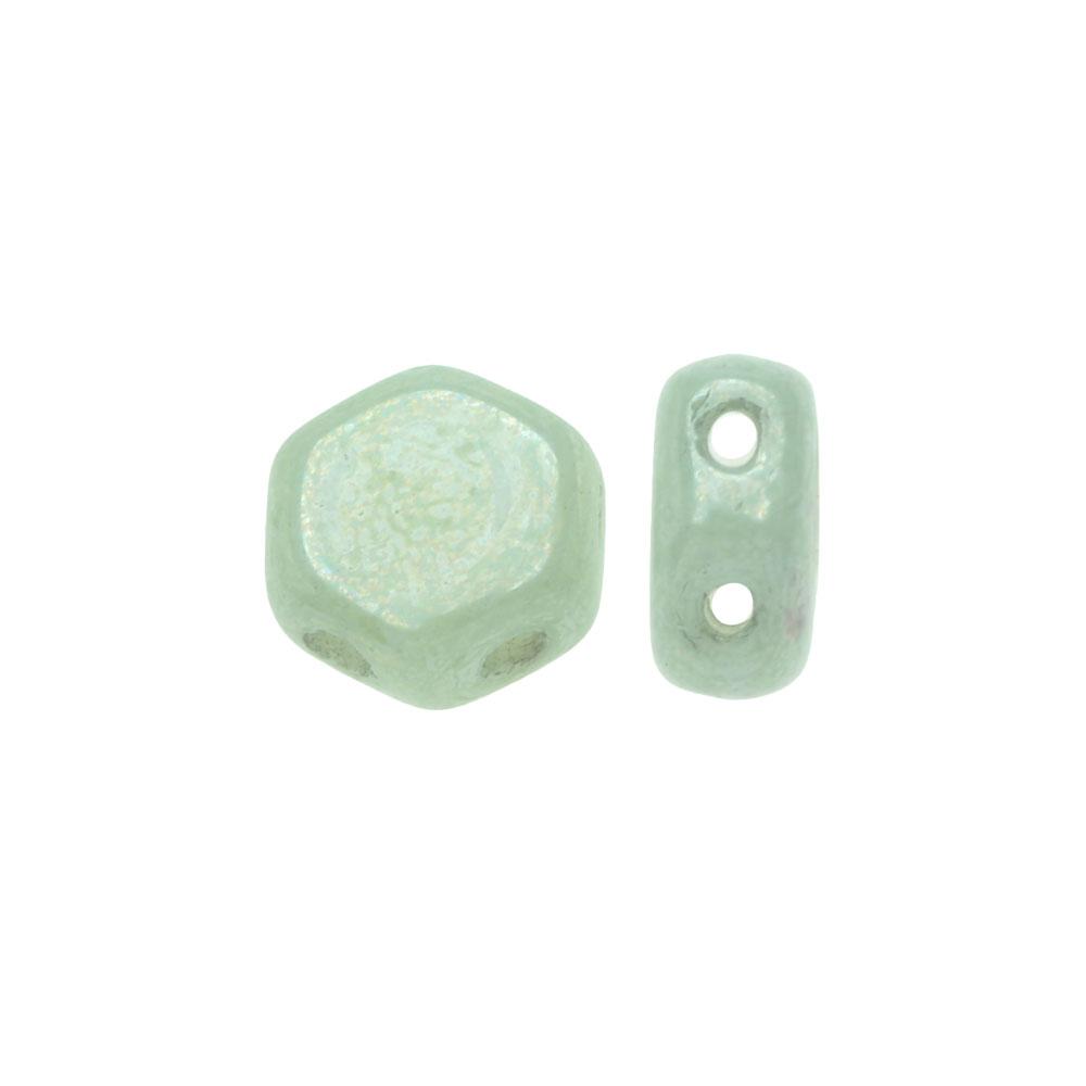 Czech Glass Honeycomb Beads, 2-Hole Hexagon 6mm, 30 Pieces, Green Luster