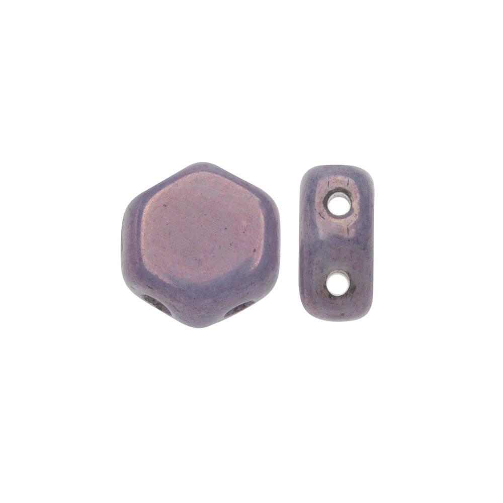 Czech Glass Honeycomb Beads, 2-Hole Hexagon 6mm, 30 Pieces, Purple Vega