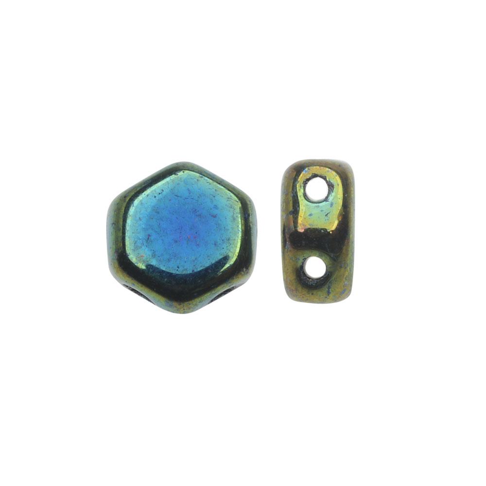 Czech Glass Honeycomb Beads, 2-Hole Hexagon 6mm, 30 Pieces, Jet Blue Iris
