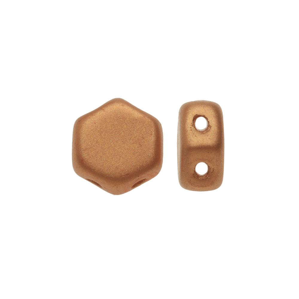 Czech Glass Honeycomb Beads, 2-Hole Hexagon 6mm, 30 Pieces, Matte Metallic Copper