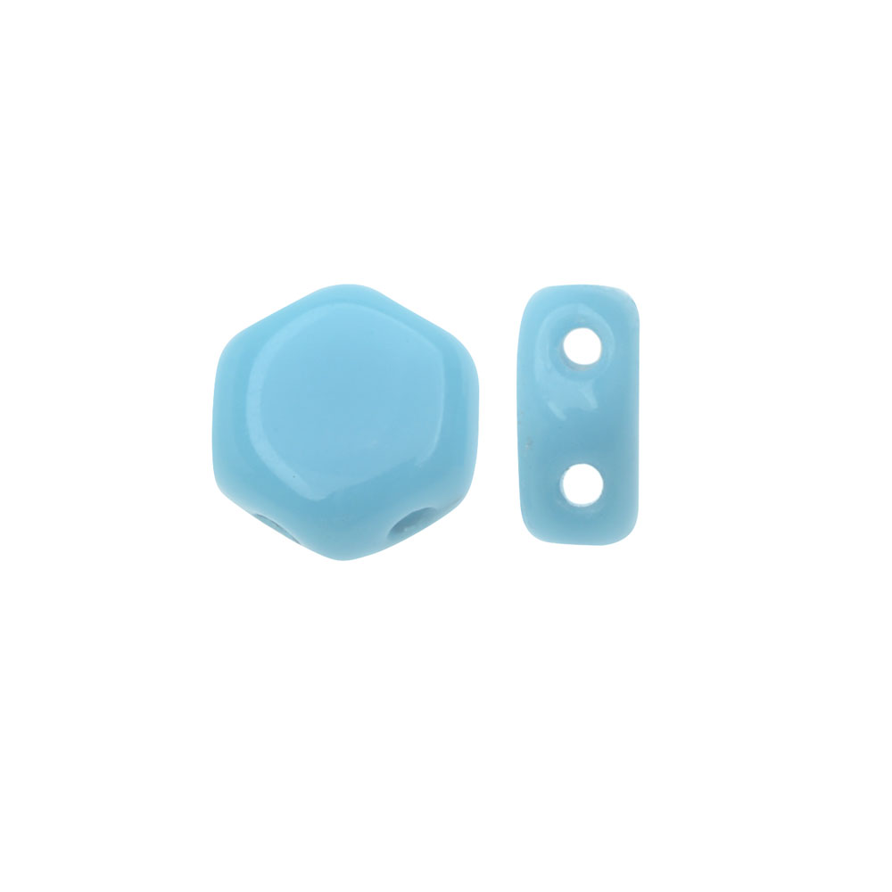 Czech Glass Honeycomb Beads, 2-Hole Hexagon 6mm, 30 Pieces, Opaque Turquoise Blue