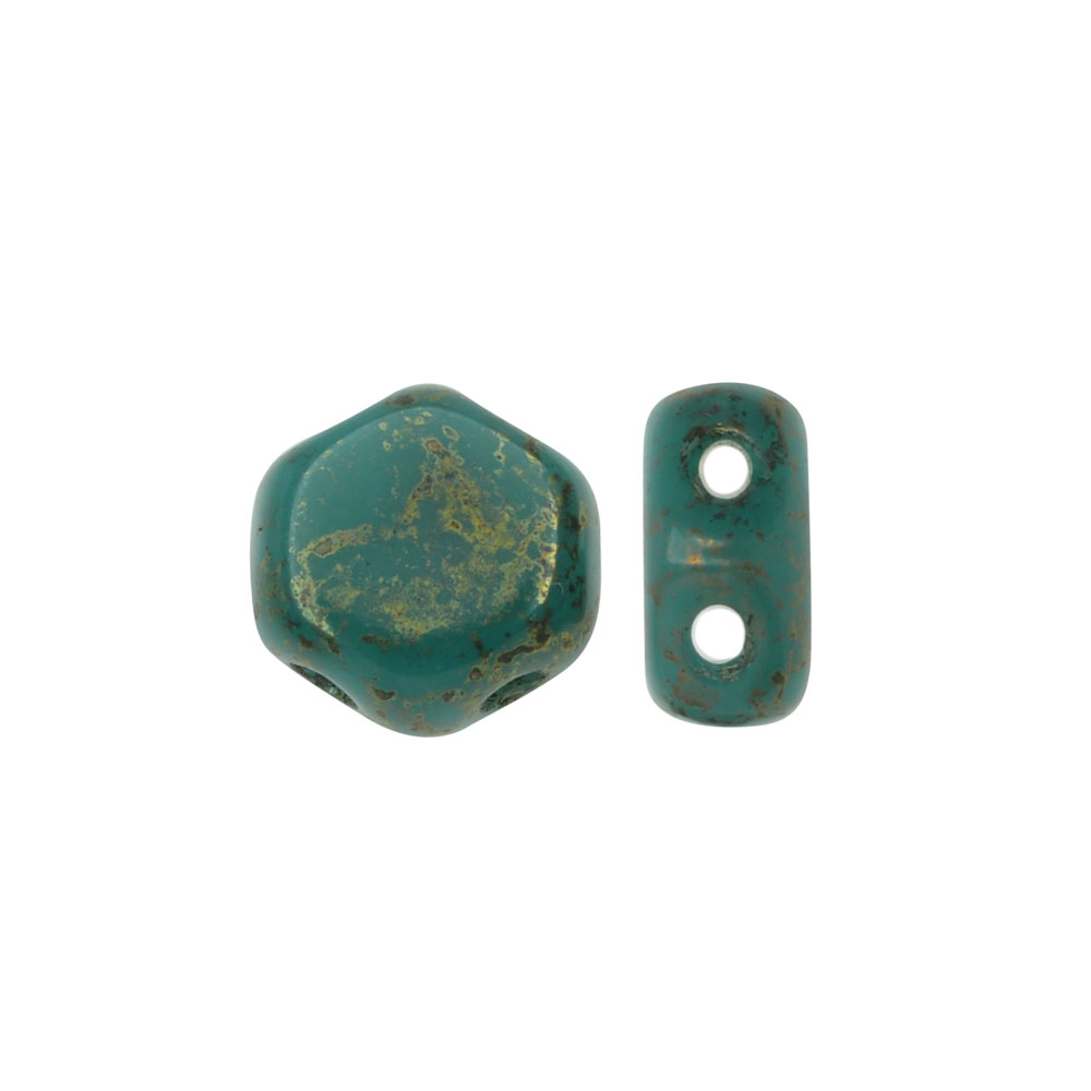 Czech Glass Honeycomb Beads, 2-Hole Hexagon 6mm, 30 Pieces, Turquoise Green Lumi