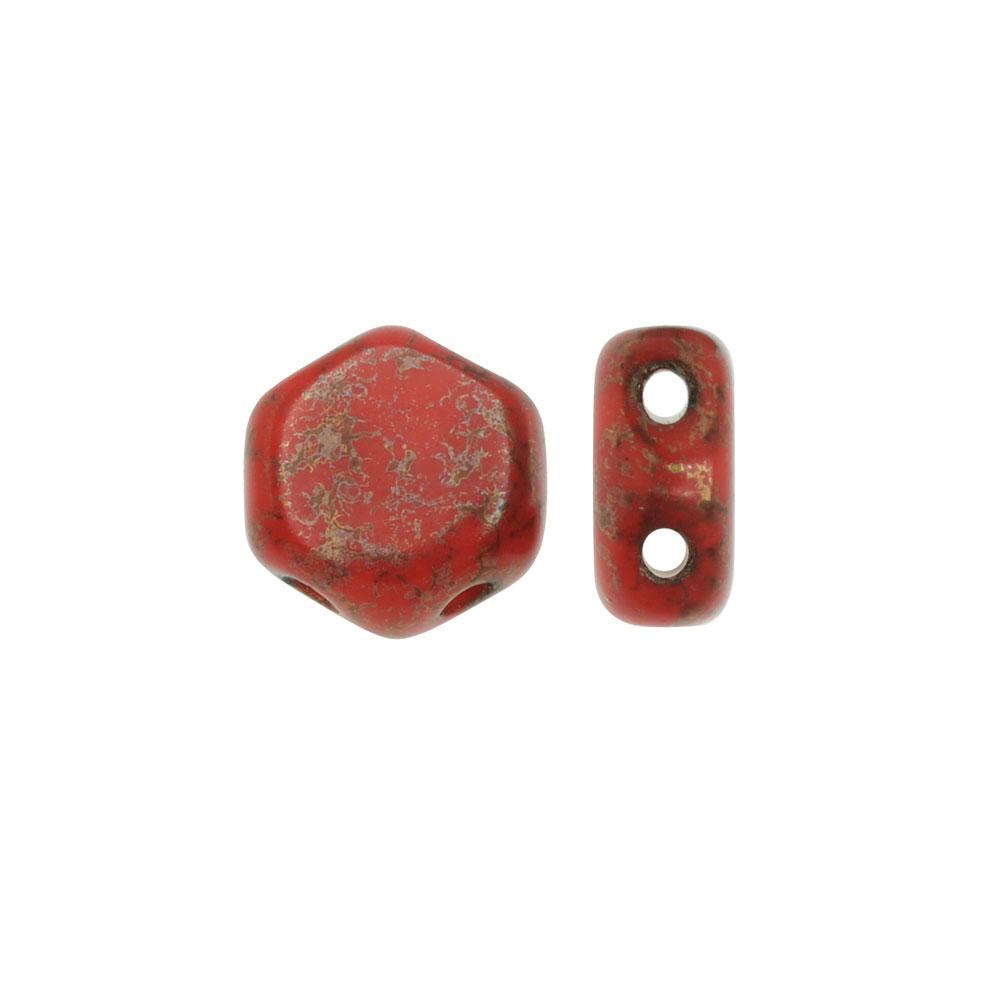 Czech Glass Honeycomb Beads, 2-Hole Hexagon 6mm, 30 Pieces, Red Lumi