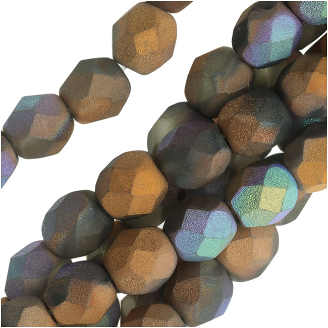 Czech Fire Polished Beads, Faceted Round 6mm, 25 Pieces, Satin Matte Bronze