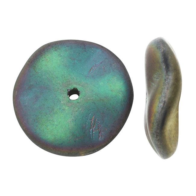 Czech Preciosa Glass Ripple Beads 12mm, 12 Pieces, Matte California Green and Gold